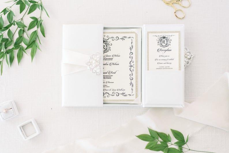 Gatefold Invitation Box Silk Boxed Wedding Anniversary