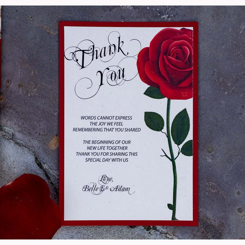 Beauty And The Beast Thank You Card Wedding Invitation Sweet Etsy