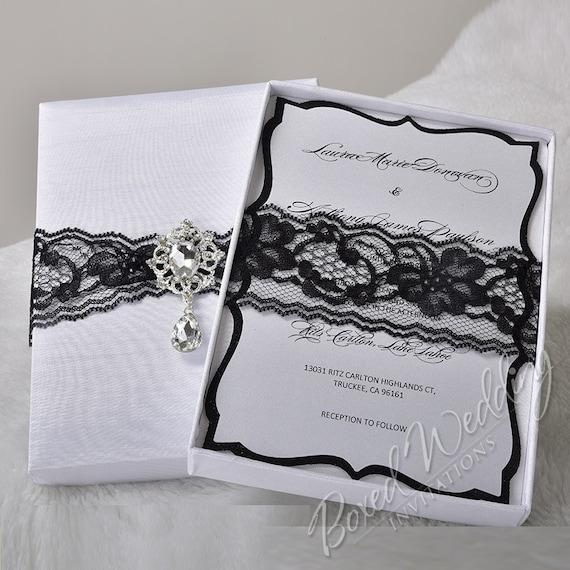 Schwarz / Weiß Hochzeit Einladung Box Schwarzer Spitze Detail