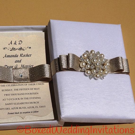 Luxury wedding invitation box etsy stopboris Images