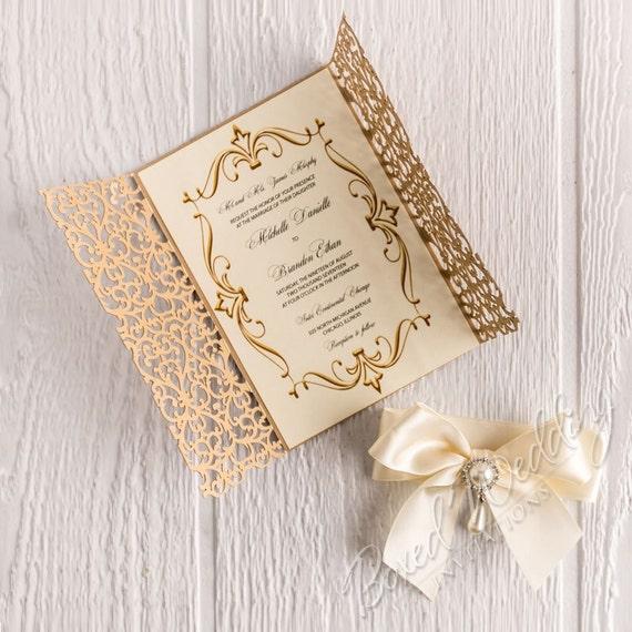 Gold Laser Cut Invitation Card/Quinceanera Invitation