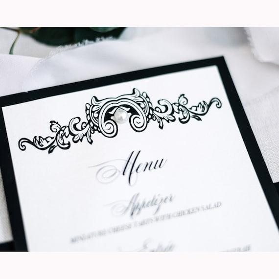 Black Tie Menu Reception Menu Wedding Menu Pearl Menu Etsy