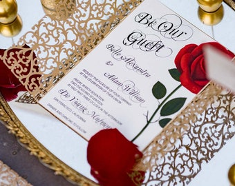 Beauty and the Beast invitation/Red rose invitation card/Quinceanera invitation /Wedding invitation/Be our Guest invitation/Sweet 16