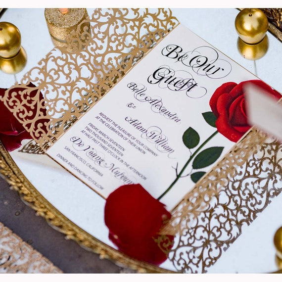 beauty and the beast invitation red rose invitation etsy