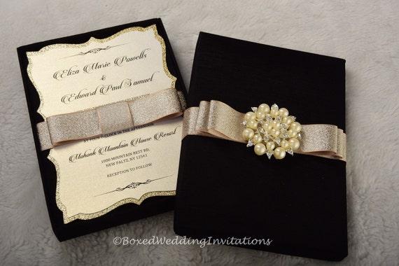 Elegant Boxed Wedding Invitation / Wedding Invitation Box / | Etsy