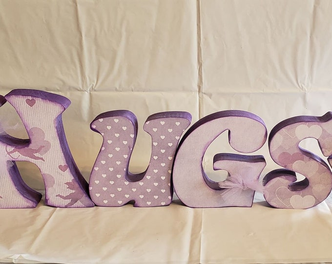 Valentine's  Hugs and Kisses craft and decor