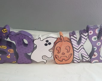 Spooky Halloween wood letter craft and decor