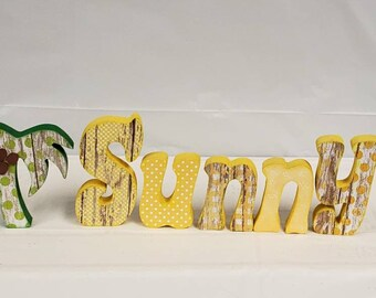 Summer Sunny palm tree wood letter craft