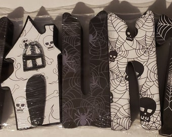 Haunt Halloween wood letter craft and decor