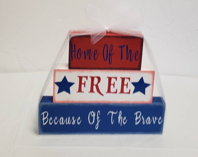 Home of the free because of the brave wood block craft