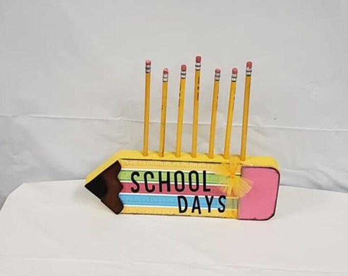 School Pencil Holder wood