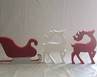 Santa Sleigh and Reindeer Wood/decor