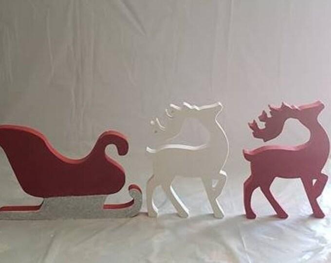 Santa Sleigh and Reindeer Wood/decor