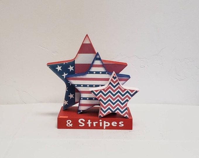 Patriotic wood Stars and stripes Craft