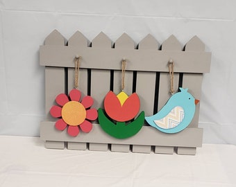 Interchangeable Spring  tulip daisy bluebird Fence kit