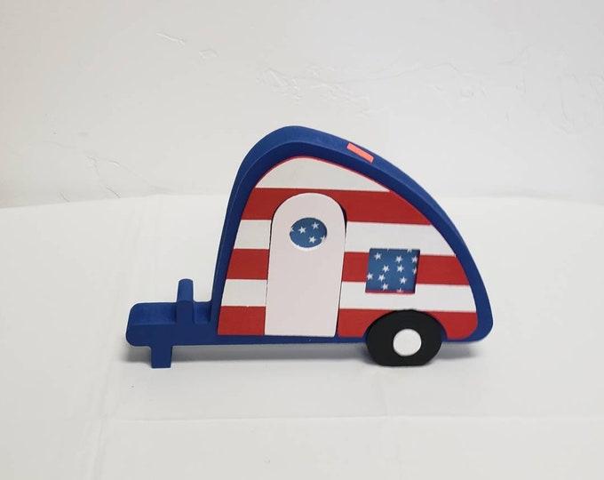 Patriotic Camp Trailer wood craft