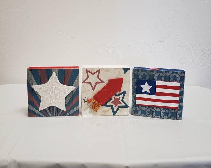 Patriotic wood blocks Craft