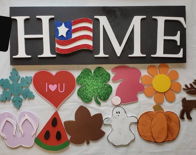 Wood Home Sign / Interchangeable Wood Home sign