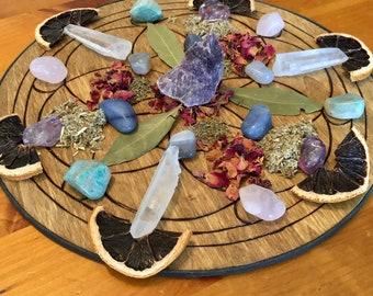 Crystal & Herb Intention Grid - Mainifestion Grid - Healing Grid - Reiki Infused - Spiritual Guidance Grid