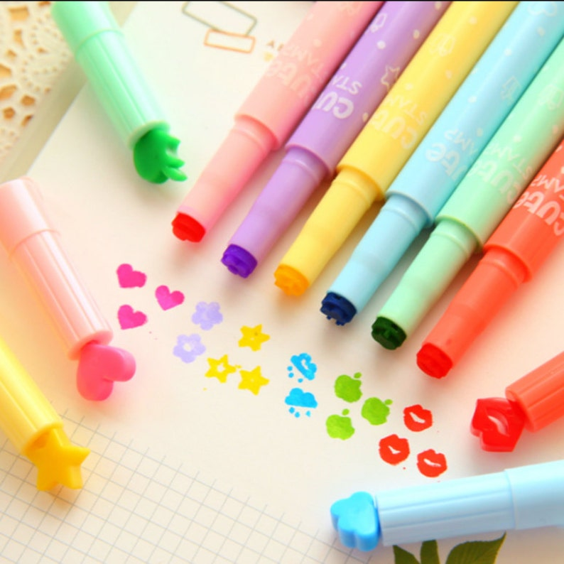 babc30f54be29 Set of 6 colors Lovely shape Fluorescent highlighter marker pens for  Scrapbooking, Planner, Filofax TZ2770