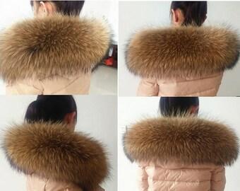 DIY Real Raccoon fur Genuine fur scarf brown fur collar winter woman collar accessories scarves wraps shawls TZ1506