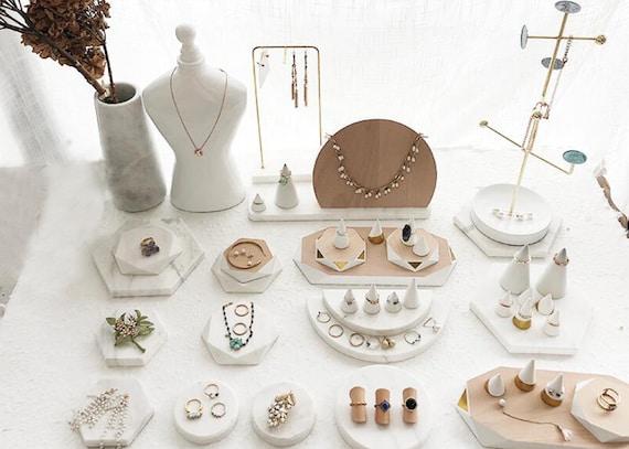 marble jewellery displays  DS1088 earring display white earring organizer stand White marble earring display