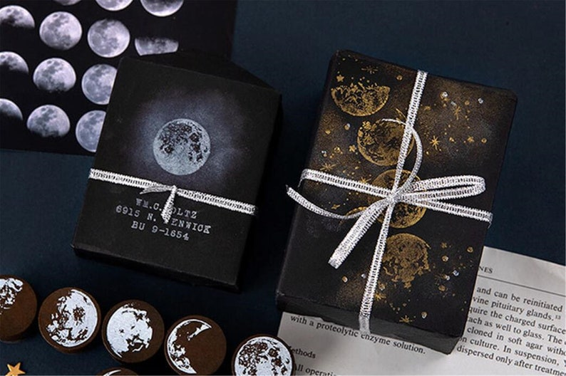Moon Phases Rubber Stamp Moon Rubber Stamp Wooden Stamp for Scrapbooking  TZ3099