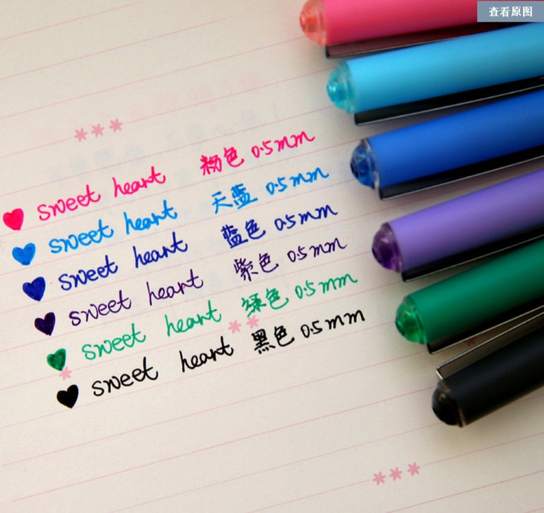 7f7cd4b171398 Set of 6 Colorful Gel Pen, Marker pen, Highlighter pen for paper working,  scrapbook, wedding