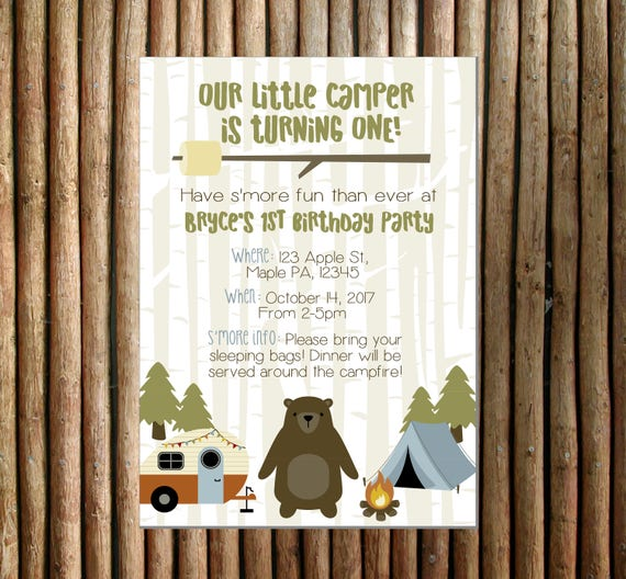camping party digital invitation camping themed birthday etsy
