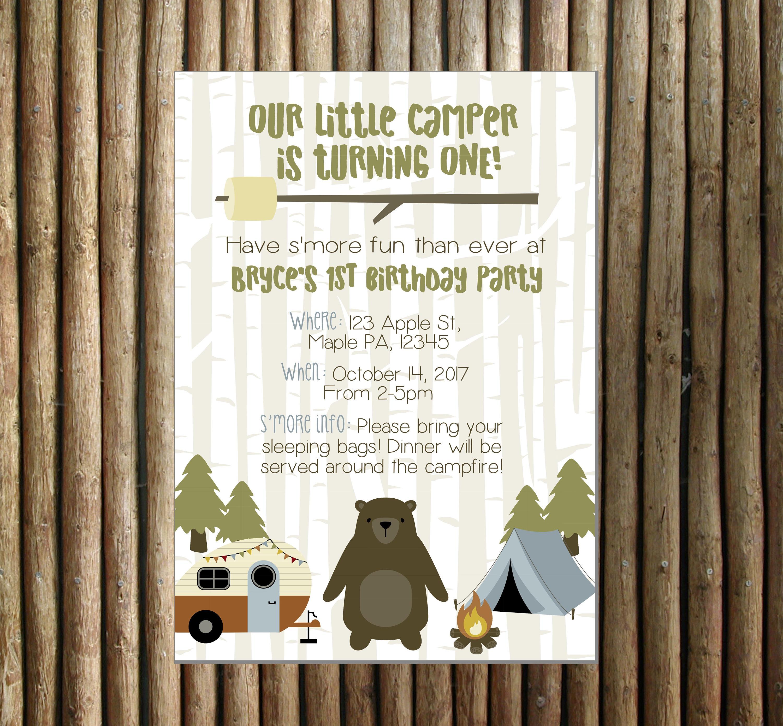 Camping Party Digital Invitation Camping Themed Birthday | Etsy