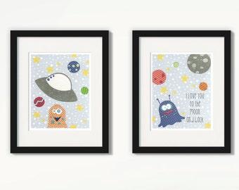 Space Nursery, Space Nursery Decor, Space Nursery Art, Outer Space Nursery, Space Art, UFO Nursery, Martian Nursery, Space Theme Nursery