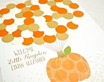 Little Pumpkin Baby Shower Decor, Pumpkin Baby Boy Shower Decorations, Baby Shower Guestbook Alternative, Fall Baby Shower Guest Sign In