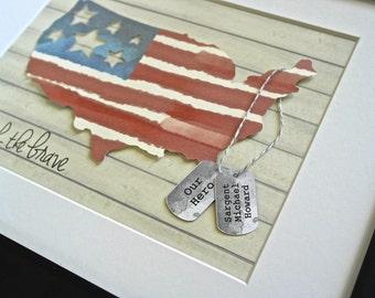 Deployment Gift, Patriotic Art, Patriotic Decor, Military Wife, Army Wife, Patriotic Decorations, American Flag Art, Veteran Gift