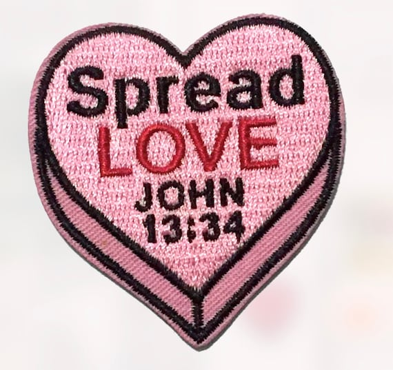 spread love heart embroidery iron on christian patch bible etsy