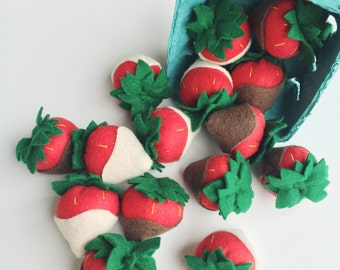 Felt Food Pretend Play Chocolate Strawberries, lifelike Handmade Play Food, Play Kitchen