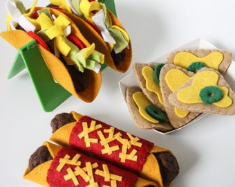 Mexican Pretend Play Food, Felt Food Play Tacos, Enchiladas and Nachos, Play Food, Play Kitchen, Play Shop, Culture