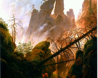 Rocky Ravine by Caspar David Friedrich Home Decor Wall Decor Giclee Art Print Poster A4 A3 A2 Large Print FLAT RATE SHIPPING