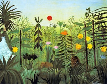 Exotic Landscape in Africa by Henri Rousseau Home Decor Wall Decor Giclee Art Print Poster A4 A3 A2 Large Print FLAT RATE SHIPPING