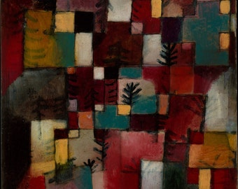Redgreen and Violet Yellow Rhythms by Paul Klee Home Decor Wall Decor Giclee Art Print Poster A4 A3 A2 Large Print FLAT RATE SHIPPING
