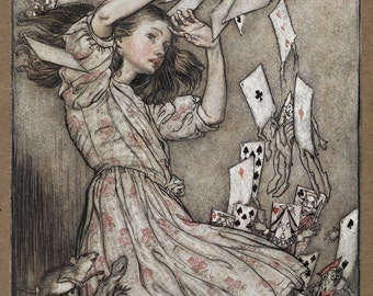 Children's print: Alice and the Falling Pack of Cards by Arthur Rackham Art Print Wall Decor Giclee Home Decor A4 A3