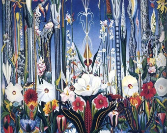 Flowers, Italy by Joseph Stella Home Decor Wall Decor Giclee Art Print Poster A4 A3 A2 Large Print FLAT RATE SHIPPING