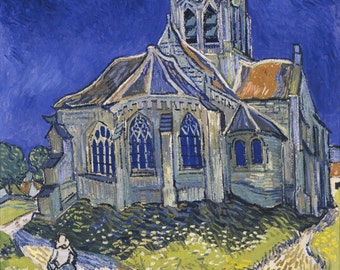 The church in Auvers-sur-Oise by Vincent Van Gogh Home Decor Wall Decor Giclee Art Print Poster A4 A3 A2 Large Print FLAT RATE SHIPPING