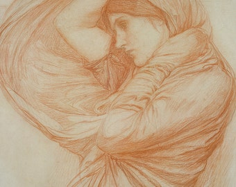 Study for Boreas by John William Waterhouse Home Decor Wall Decor Giclee Art Print Poster A4 A3 FLAT RATE SHIPPING