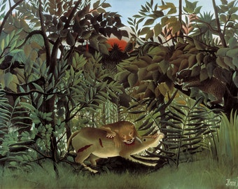 The Hungry Lion by Henri Rousseau Home Decor Wall Decor Giclee Art Print Poster A4 A3 A2 Large Print FLAT RATE SHIPPING