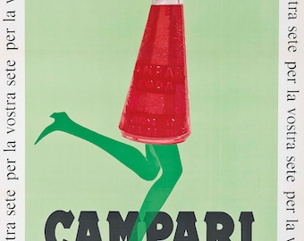 Campari Advertising Poster by Franz Marangolo Home Decor Wall Decor Giclee Art Print Poster A4 A3 A2 Large Print FLAT RATE SHIPPING