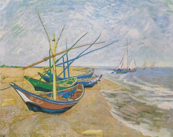 Fishing Boats on the Beach by Vincent Van Gogh Home Decor Wall Decor Giclee Art Print Poster A4 A3 A2 Large Print FLAT RATE SHIPPING