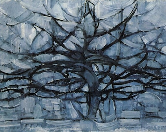 Grey Tree by Piet Mondrian Home Decor Wall Decor Giclee Art Print Poster A4 A3 A2 Large FLAT RATE SHIPPING