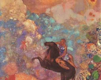 Muse on Pegasus by Odilon Redon Art Print Wall Decor Giclee Home Decor A4 A3 Poster