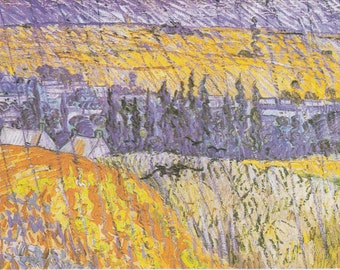 Landscape at Auvers in the Rain by Vincent Van Gogh Home Decor Wall Decor Giclee Art Print Poster A4 A3 A2 Large Print FLAT RATE SHIPPING