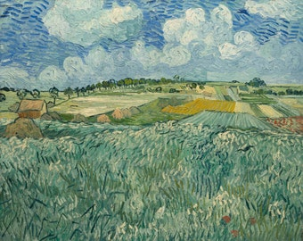 Plain at Auvers with rain clouds by Vincent Van Gogh Home Decor Wall Decor Giclee Art Print Poster A4 A3 A2 Large Print FLAT RATE SHIPPING